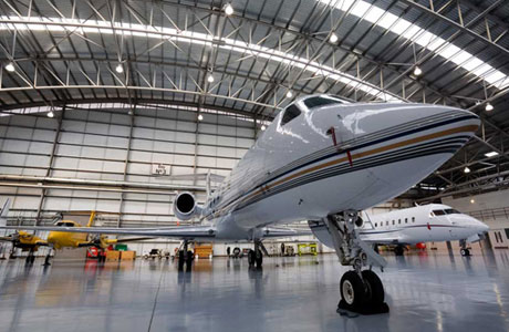 Jet in hangar at Farnborough International