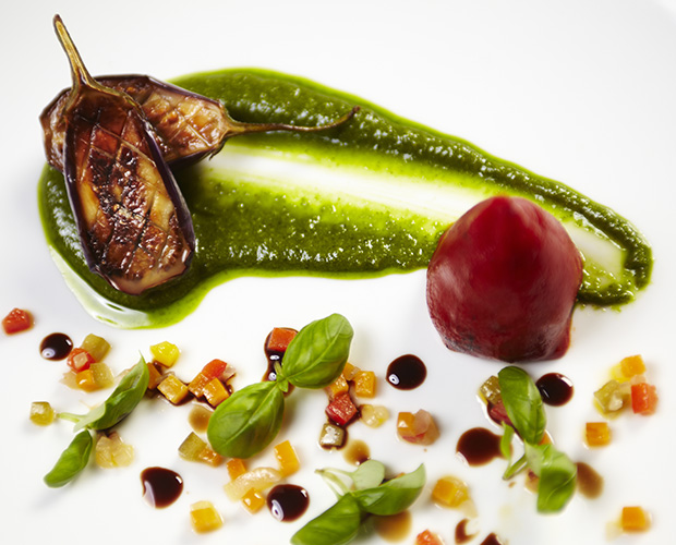 Roasted Baby Aubergine on the menu at the Aviator Brasserie