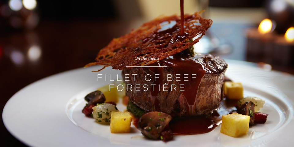 Fillet of beef forestiere with buttered spinach